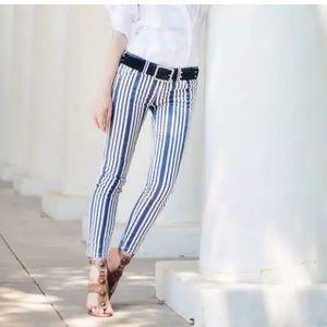 Free People Blue Striped Jean Size 26
